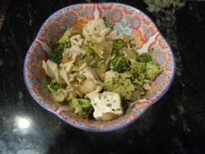 broccoli and tofu with pasta